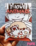 Vegan Sticker - I love animals - 10,5 cm x 7,4 cm _