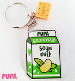 Plant milk & cookies keychain - double sided _