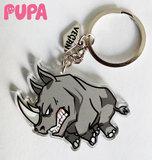 Rhino vegan keychain - double sided _