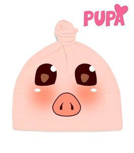 Vegan Organic Baby Knot Hat - Kawaii Piglet - Pink