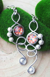 Silver peacock necklace and earrings - Set A - Handmade - Maikai Jewelry