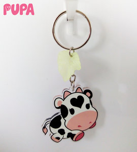 Cow keychain - double sided