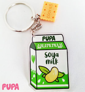 Plant milk & cookies keychain - double sided