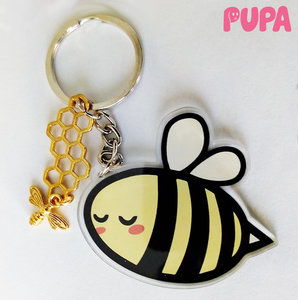Bee keychain - double sided